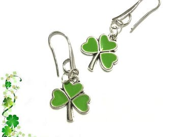 Silver Shamrock Earrings, St Patricks Day Earrings, Good Luck Gift, Gal Pal Gift, Friendship Gift, Thank You Gift, Free Local Shipping