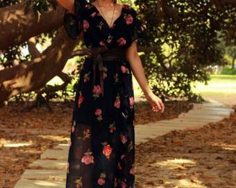 Maxi Floral Dress - Soft Chiffon Floral Dress with Ruffles - Long Flower Dress - Soft Ruffles Dress
