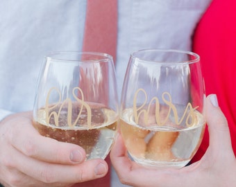 Mr. & Mrs. Stemless Wine Glasses   Wedding Gift   Gold Hand Lettering   Bridal Shower Gift   Our First Christmas