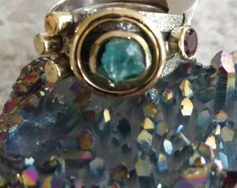 Solar Eclipse Neon Blue Apitite Ring, Size 8 1/2