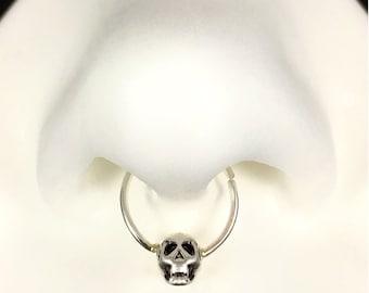 Septum Ring, Septum Hoop, Skull Nose Ring, Sterling Silver Nose Ring, Tiny Skull Septum Piercing, Septum Hoop, Skull Jewelry, Nose Ring