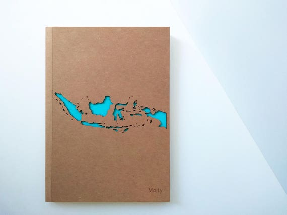 Indonesia map personalized travel journal jakarta map custom like this item negle Image collections