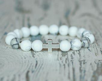 cross bracelet beaded men white bracelet Jewelry for him Uncle gift boyfriend dad birthday mens spiritual white howlite beads men christian