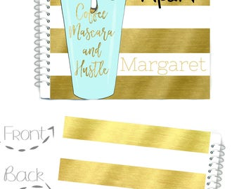 2018 - 2019 Planner, Personalized Planner, African American Girl, Monthly Planner, Coffee Cup Planner, Weekly  Planner, Planner Organizer,