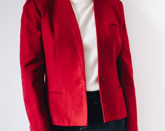 80s Red Wool Blazer, Cherry Red Blazer, 80s Red Blazer, Red Blazer, Red Wool Blazer, Red Jacket, Wool Blazer, Wool Jacket, Small Red Blazer