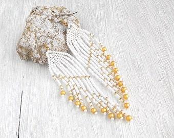 Romantic earrings for bride Bridesmaid earrings Wedding earrings White earrings Golden Earrings Wing earrings Fringe earrings Dangle earring