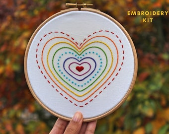 Rainbow Hearts Embroidery Kit- Hand Embroidery Kit- Craft kit- Embroidery Kit- Beginner embroidery kit- Hoop art- Valentines day gift