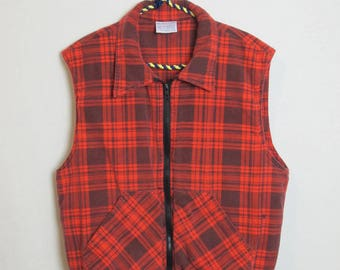 Vintage Red Flannel Puffer Vest