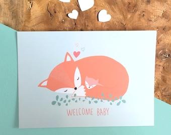 Carte WELCOME BABY fox