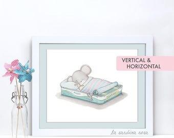 Mouse print, Kids room decor, Whimsical nursery print, Baby animal art, Woodland nursery, Mouse art