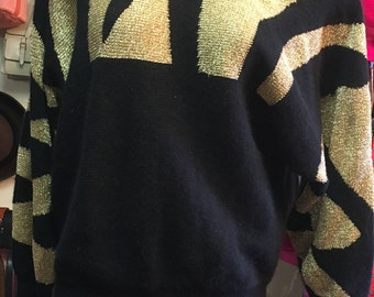 1980s Black and Gold Long Sleeved Sweater by I.B. Diffusion Size: S Made in Hong Kong
