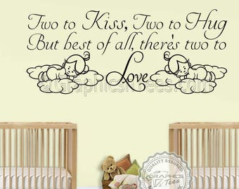 Nursery Wall Sticker For Twins Baby Boys Girls Two To Love Bedroom Wall Quote Decor Decal