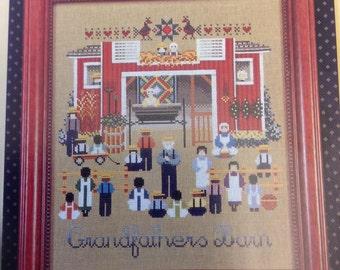 Grandfathers barn cross stitch chart, vintage cross stitch chart, Amish barn cross stitch chart, rural scene cross stitch chart,