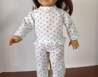 Plisse pajamas, rosebud pajamas, summer pajamas, two piece pajamas, summer pajamas, cotton pajamas, long sleeve pajamas, pajamas and ruffles