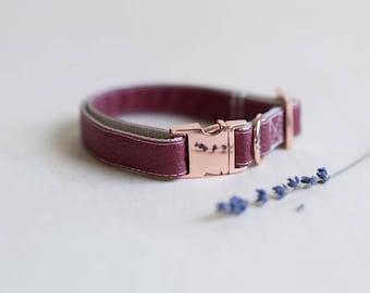 Burgundy Leather Collar, Vegan Collar, Faux Leather Dog Collar, Girl Dog Collar, Rose Gold Collar, Female Puppy Collar, Wedding Collar