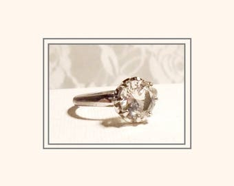 Art Deco Engagement Ring, Antique French Paste Ring, Early UNCAS, 1930s Paste Ring, Beautiful 8 Prong Crown Setting, Large Solitaire Ring.