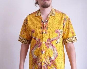 Yellow Dragons 70s shirt Vintage Novelty Batik print Short sleeve Party Shirt Holiday Resort shirt Asian Shirt large size