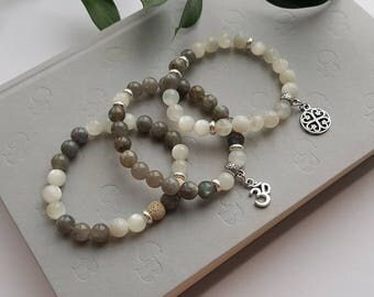 Moonstone & Labradorite Aromatherapy Bracelet - set of 3