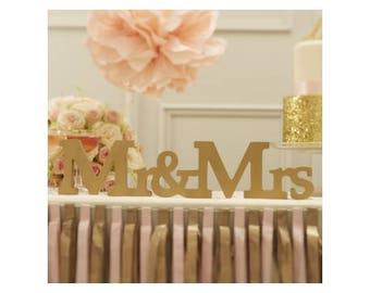 "Gold ""Mr & Mrs"" sign"