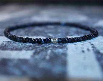 Mens Bracelet - Sapphire bead bracelet - Men's Bead Bracelets Gem - Tunduru Sapphire, Mens gift for him Husband Gift , Mens Seed Bead