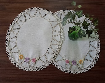 Embroidered Doily Set, Vintage Doily Pair, Pastel Flowers, Two Oval Doilies, Table Toppers