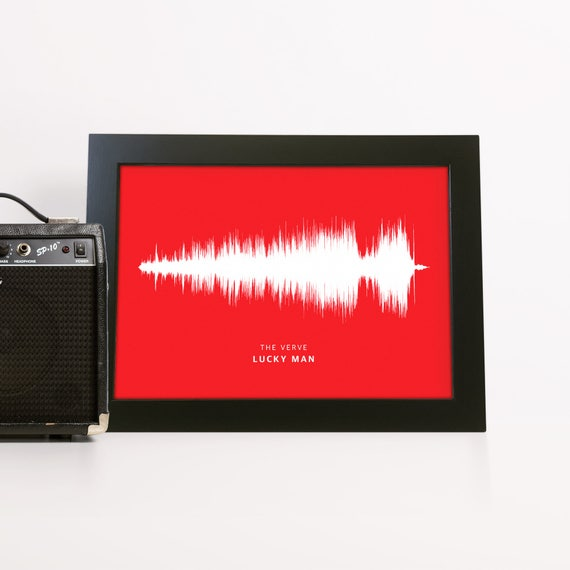 Any Song Sound Wave Print Fully Personalized Soundwave Picture - Any Colour Background - Any Message - A4 A5 A3 PP77
