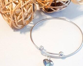 Silver bangle, swarovski, large silver adjustable bangle, sparkle bracelet, sparkle look bangle,black stone bangle, swarovski black stone