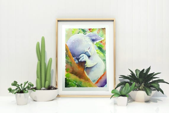 Koala watercolor, Giclée fine art print, original painting by Francesca Licchelli, home office decoration, baby room, nursery, child birth.
