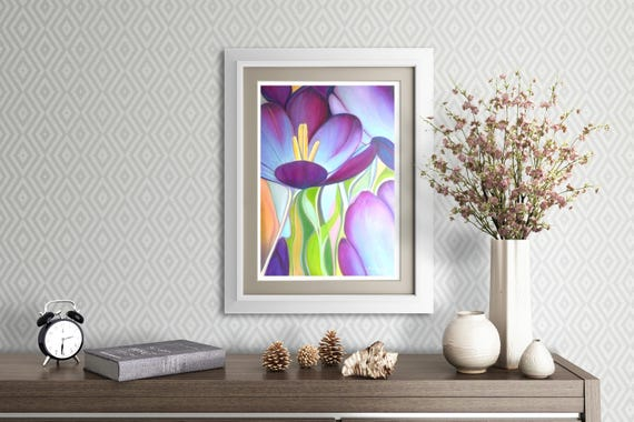 Macro flowers, original oil by Francesca Licchelli, giclée fine art print, romantic gift for her, bedroom modern picture, home decoration.