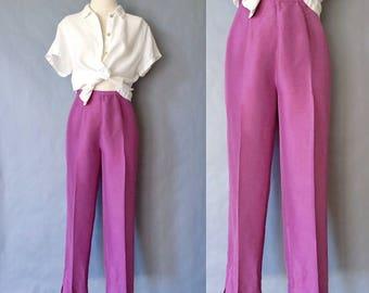 vintage silk pants/ silk trousers/ minimalist silk pants women's size S/M