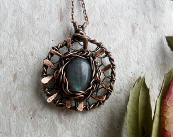 Wire wrapped necklace pendant Labradorite and copper Wire jewelry Rustic copper necklace Crystal wrap necklace Copper wire necklace Womens