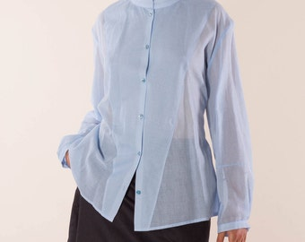 light, classic designer blouse made of organic cotton in light blue, oversize transparent shirt, blue blouse, blouse, Businnessbluse light blue