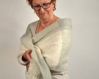 Handwoven shawl, in green celadon and white mohair. Winter wrap, pashmina, large scarf, handwoven in white and green celadon mohair.