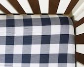 Navy Plaid Crib Sheet, navy gingham crib sheet, blue gingham crib sheet, navy plaid baby bedding, navy plaid nursery, nursery bedding, baby
