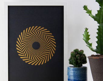 Hypnotic Circle Print, Gold Print, A3 Art Print, Geometric Print, Poster, Minimal, Screen Print, Screen Print, Gift Idea