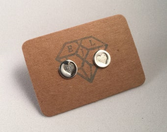 Sterling Eco Silver Stamped Whole Heart Stud Earrings - Eco Jewellery, Eco Silver Studs
