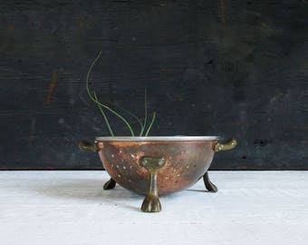 small copper colander with brass feet / vintage footed metal strainer