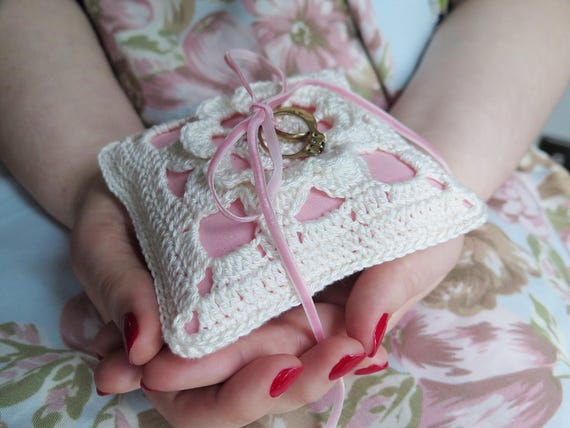 Pink ring pillow wedding ring bearer pillow crochet ring