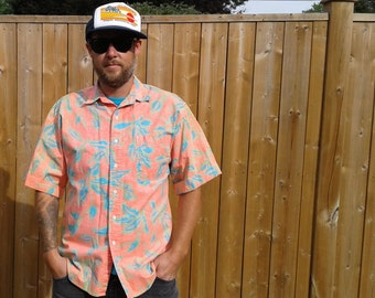 Vintage 80's / 90's Bugle Boy pink / peach / blue / green button up party shirt medium