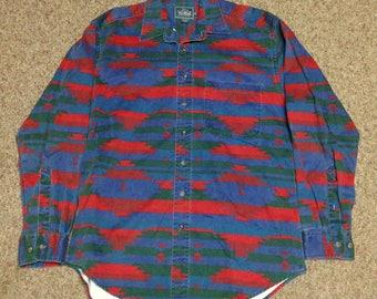 Vintage Woolrich Aztec Navajo Long Sleeve Button Down Shirt size Medium