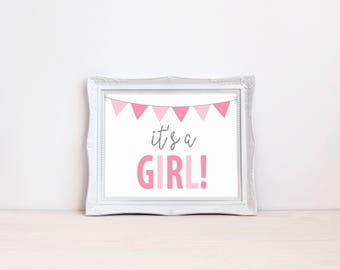 """Its A Girl Gender Reveal Announcement Sign 