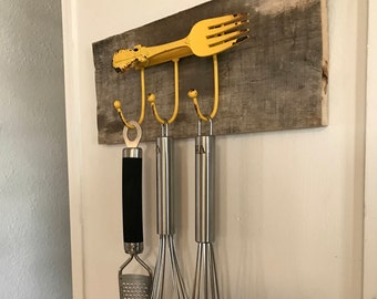 Kitchen Utensil Rack - Yellow Fork with Hooks on Reclaimed Wood - Rustic!