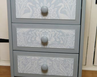 Vintage Blue/Grey Drawer Unit - 3 drawers with beautiful decoupaged fronts and linings