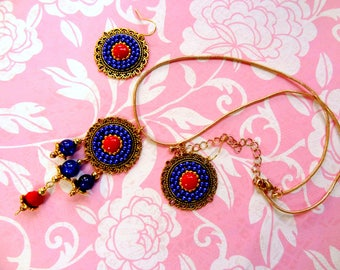Blue and Red pendant earring set with Chain, Golden snake chain with Pendant, Gold pendant, Blue earrings, Red and blue pendant earring set.