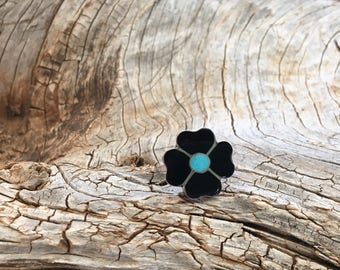 Vintage Zuni Flower Ring Handmade Channel Inlay of Sterling Silver Set with Jet and Turquoise Signed I.A. Zuni Size 6