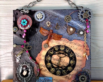 STEAMPUNK ART – Altered assemblage art, Abstract art, Mixed media wall art, Steampunk altered, 3-D art, Steampunk decor, Eclectic wall decor