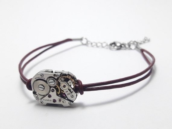 Silver watch mechanism on Purple Leather women bracelet