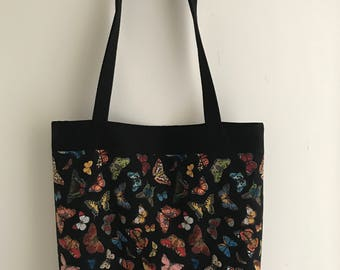 Butterfly fabric tote, shopper bag