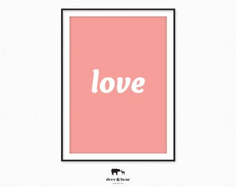 Love Print Pink White Decor Love Typography Poster Inspirational Word Art Minimalist Summer Quote Printable Minimal Modern Instant Download