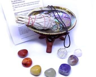 """Chakra Crystal Healing Set: 7 Chakra Crystals, 3"""" California Sage, Shell, + Instructions"""